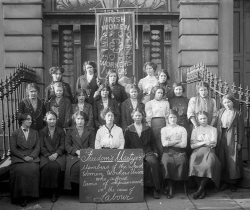 Members of the Irish Women's Workers' Union on the steps of Liberty Hall, c. 1914.